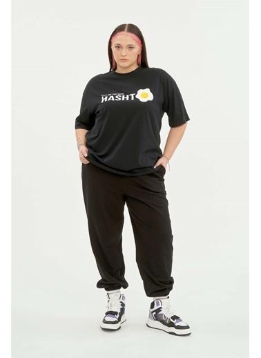Luokk Henry Yuvarlak Yaka Yarım Kol Kadın T-Shirt Siyah Siyah